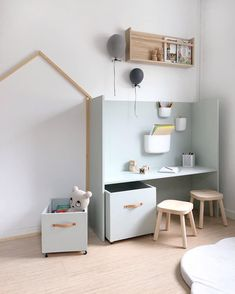 Interior & Scandinavian Home: How lovely is this kid's play corner by 👈🏻 Norman Copenhagen wall Pocket Organisers are available in our sale, limit stock remaining…」 Homemade Storage, Deco Kids, Kids Storage, Playroom Storage, Storage Ideas, Kids Room Design, Kid Spaces, Kids Furniture, Blue Furniture