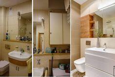 Metamorfoza łazienki, gdzi styl PRL-u  został przekształcony w styl nowoczesny. Białe wnętrze łazienki urozmaicone drewnianymi elementami, które nadaje wnętrzu przytulności. Bathroom Lighting, Sink, Mirror, Furniture, Gallery, Home Decor, Bathroom Light Fittings, Sink Tops, Bathroom Vanity Lighting