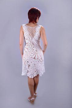 Elegant dress Handmade crochet dress Irish lase dress custom