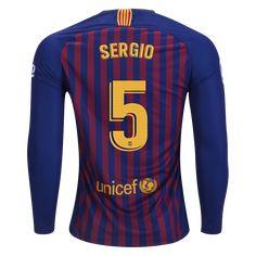Nike Sergio Busquets FC Barcelona Long Sleeve Home Jersey 18 19-2xl Barca  Jersey 2e2d34ca4