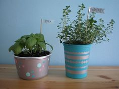 Top 30 Planters – DIY and Recycled Reuse yogurt containers to make pots! These would be the perfect size to plant herbs in. They're also cheap, because you eat yogurt anyhow, so you can reuse them instead of recycling them.