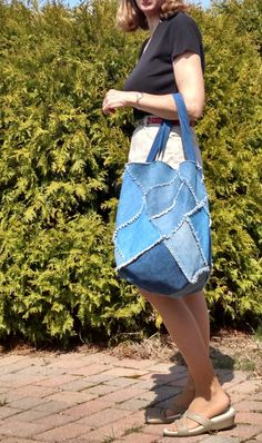 Denim Tote bag. Made of quality repurposed cotton denim. Great for going to the market.