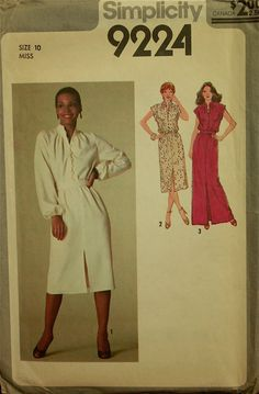 "1970s+cocktail+maxi+dress+pattern | 1970s Maxi Dress Simplicity Pattern 9224 Uncut Size 10 Bust 32.5"""