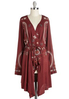 Flow One Better Cardigan. Take your breezy bohemian style to the next level with this soft cranberry-red cardigan. #gold #prom #modcloth