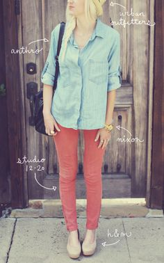 i pretty much have this outfit! never thought of putting the coral pants with the denim shirt but i do now :)