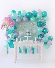 Amazing Ideas for a Beautiful Mermaid Birthday Party! Style a beautiful under the sea birthday with gorgeous mermaid party ideas. These mermaid party food ideas Mermaid Theme Birthday, Little Mermaid Birthday, Little Mermaid Parties, Birthday Diy, Birthday Party Themes, Girl Birthday, Mermaid Birthday Decorations, Birthday Ideas For Kids, Cake Birthday