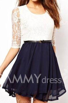 Ladylike U Neck Lace Splicing Ruffled Half Sleeve Dress For Women
