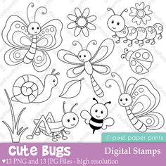 Cute Bugs - Digital Stamps