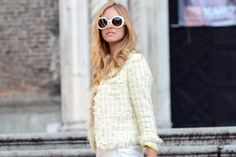 White Tweed Jacket and color matching sunnies - elegant chic!   #boucle #chanel #dynamite #tweed #jacket #fall #trends