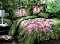 Wonderful 4 Piece Flowers Print Comforter Sets 3D Bedding Sets