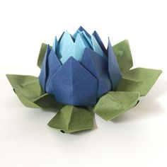 Set of 6 Blue Shades Origami Lotus Flowers  For weddings