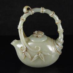 Chinese Natural Hetian Jade Bamboo Style Teapots 中國和田玉老玉茶壺