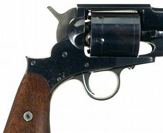 Outstanding Austin T. Freeman Army Model percussion Revolver  Freeman Army Model percussion revolver manufactured by Hoard's Armory, Watertown, New York, c. 1863-64. Hoard's Armory manufactured approximately 2,000 of these .44 caliber single action revolvers, but received no Federal contracts. The solid frame revolver has a high polish blue finish on the barrel, frame, cylinder and loading lever. The hammer is color casehardened. The two-piece black walnut grips are oil-finished. The…