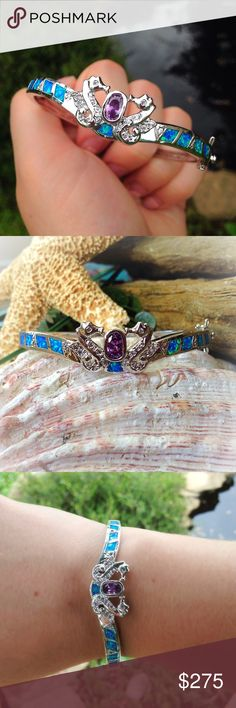 sterling silver opal amethyst seahorse bracelet Gorgeous solid sterling silver bracelet with blue opal inlay, white topaz accents with an amethyst focal stone surrounded by two exquisite seahorses. Jewelry Bracelets