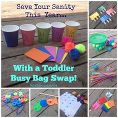 This mama organized a Toddler busy bag swap with some other families to grow her stash of fun, hands on activities for her 2 yar old while h...