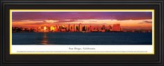 San Diego Skyline Panoramic, California Picture Framed