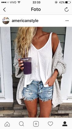 45 Cozy Summer Outfits Ideas for women who look trendy fashion these days Casual Summer Outfits Cozy days fashion Ideas outfits Summer Trendy women Looks Style, Style Me, Trendy Style, Cardigan Gris, Chunky Cardigan, Chunky Sweater Outfit, Beach Sweater, Knit Cardigan, Outfit Stile