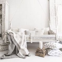 A lifestyle store selling white Indian furniture, homewares, block printed textiles, lace kaftans and jewellery with coastal, tropical and boho luxe style. Indian Furniture, Furniture Nyc, Furniture Dolly, Bohemian Style Bedrooms, Decoration Design, Moroccan Decor, White Decor, My New Room, Living Room Bedroom