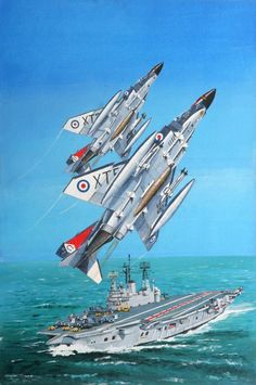Phantom GF Mk1 and the HMS Ark Royal. Part of Derrick Dickens' Fleet Air Arm Collection and book on the FAA 'Stringbag to Shar' - acrylic on canvass