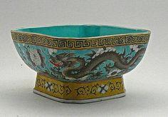 Antique Chinese Porcelain Bowl w/ Dragon & Floral Design Square Base