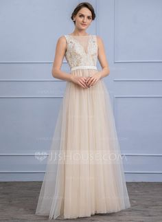 [US$ 149.99] A-Line/Princess Scoop Neck Floor-Length Tulle Lace Wedding Dress With Beading Sequins