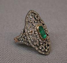 Ring Date: 1838–47 Culture: French, Paris Medium: Emerald, diamonds, gold, silver