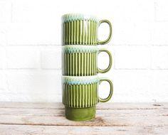 Vintage Green Stacking Mugs - Set of Three Moss Green Glazed Mugs - Mid Century Japan