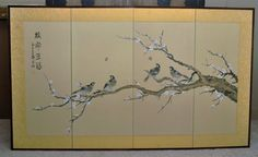 Antique Japanese 4 Panel Wall Screen  Circa 1950s  by DLDowns