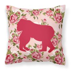 Gorilla Shabby Chic Pink Roses Fabric Decorative Pillow BB1129-RS-PK-PW1414