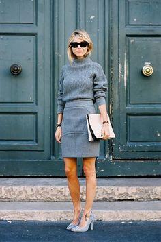 20 Looks with Fashion Blogger Pernille Teisbaek Glamsugar.com Grey monochromatic outfit