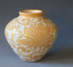 Really beautiful sgraffito work (carving through colored slip to reveal the clay beneath)