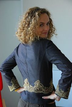 Boho Embroidery Jeans Jacket with Organza Embroidery...great site for hand and machine tips - Mirela, originally uploaded by mariuspopovici. This is my favorite jacket ever! I have made it based on a La Mia Boutique pattern, I think it was the April issue, 2007, have to check. I like how th…