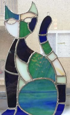Abstract Stained Glass Cat Suncatcher by StainedGlassMenageri
