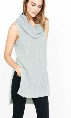 Sleeveless Cowl Neck Tunic Sweater | Express