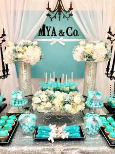 New Ideas For Breakfast Party Decorations Bridal Shower Tiffany E Co, Tiffany Sweet 16, Tiffany Blue Party, Tiffany Birthday Party, Tiffany Theme, Tiffany Wedding, Birthday Parties, Tiffany Co Party Ideas, Tiffany Blue Decorations