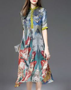 Multicolor A-line Half Sleeve Shirt Dress