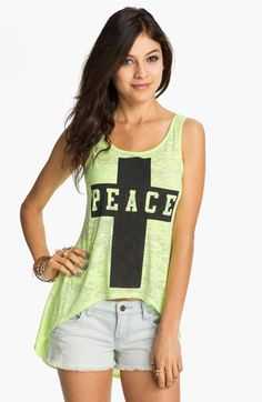 Project Social T Peace Cross Graphic High/Low Tank (Juniors) available at Nordstrom Cute Girls, Must Haves, High Low, Nordstrom, Spring Summer, Peace, Lifestyle, Tank Tops, My Style