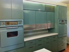 Kitchen, : Agreeable Small Kitchen Decoration Using Retro Steel Kitchen Cabinet Along With Light Blue Kitchen Counter