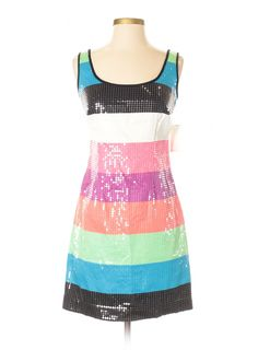377d770a Details about NWT Lilly Pulitzer LUCY Multicolor Colorblock Stripe Sequined  Mini Shift Dress 0