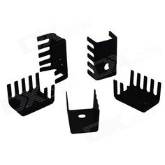Aluminum Heatsink Radiators - Black (19 x 15 x 10mm / 5 PCS). Brand N/A Model N/A Color Black Quantity 5 Material Aluminum Application Heatsink Others Base plate thickness: 1.2mm; Width: 12mm; Number of blades: 5; Application in heatsink Packing List 5 x Radiator. Tags: #Computers/Tablets #Networking #Hardware #Parts #Hardware #Cooling #Gears