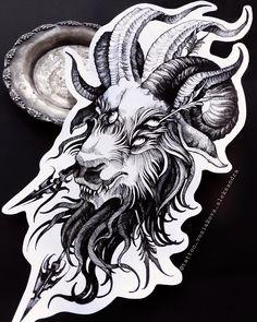 Evil Tattoos, Chill Room, Baphomet, Tattoo Inspiration, Blackwork, Horns, Moose Art, Lion Sculpture, Statue