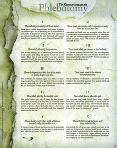 Check out the deal on Ten Commandments of Phlebotomy Poster at Center for Phlebotomy Education
