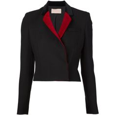 Christopher Kane Cropped Blazer (1,195 CAD) ❤ liked on Polyvore featuring outerwear, jackets, blazers, black, black cotton blazer, cropped blazer, black cotton jacket, long sleeve jacket and cotton jacket