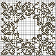салфетка-с-розами схема Crochet Motif Patterns, Filet Crochet Charts, Crochet Cross, Crochet Diagram, Crochet Stitches, Embroidery Patterns, Cross Stitch Patterns, Cross Stitch Rose, Cross Stitch Borders