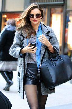 beautiful coat! and leather shorts.