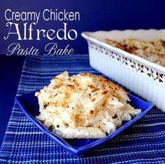Creamy Chicken Alfredo Pasta Bake. My friend brought this to us for dinner last night and it was AMAZING!! We all gobbled it up!