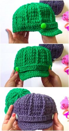 40 Lovely Crochet Ideas With Easy Patterns - Diy And Crafts Crochet Newsboy Hat, Crochet Hat With Brim, Easy Crochet Hat, Crochet Beanie Pattern, Crochet Cap, Crochet For Boys, Crochet Crafts, Crochet Stitches, Free Crochet