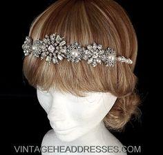 Vintage Art Deco Jewelled Flapper Forehead Band / Headband - OOAK - Great Gatsby - Downton Abbey - Bridal Headpiece - Wedding Headband on Etsy, $361.12