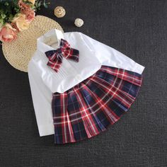 Girls White Bowtie Blouse + Plaid School Skirt Set Girls Skirt Set Girls Autumn Set