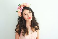 peach rose and bird flower crown headband / by kisforkani on Etsy